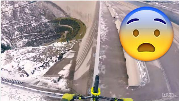¿Te imaginas manejar bicicleta en la baranda de la presa más alta de Europa? Él lo hizo