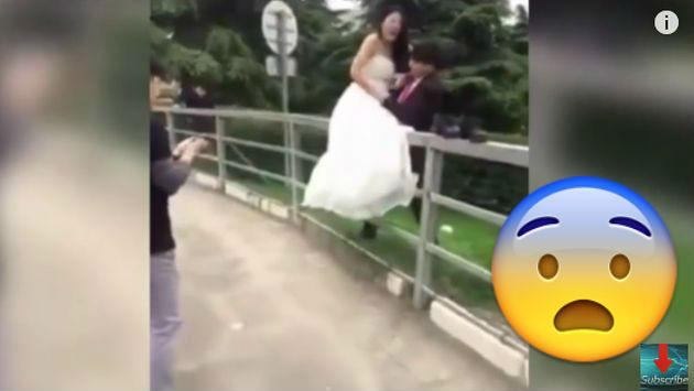 ¡Esta sesión de fotos de recién casados tuvo el peor final! [VIDEO]