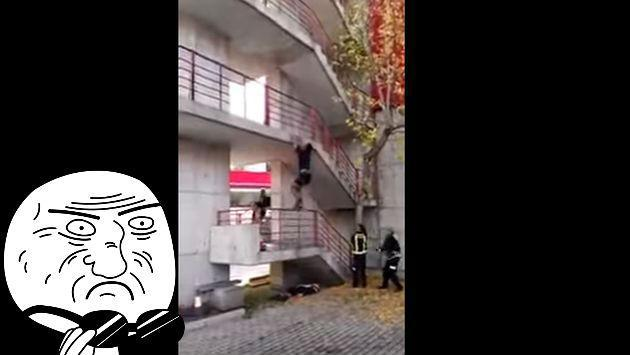 OMG! Este bombero 'Spiderman' puede trepar 9 pisos en segundos [VIDEO]