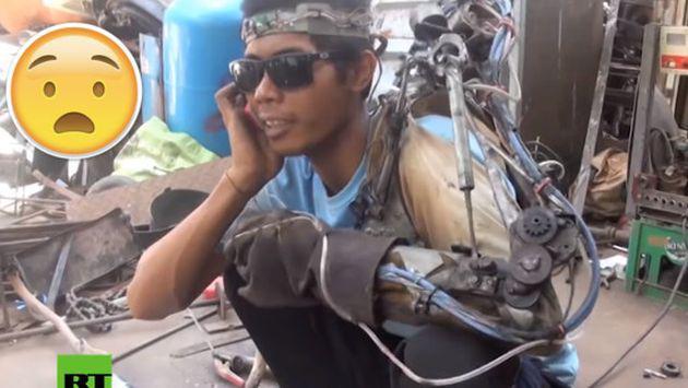 ¡Mira cómo este hombre construyó un brazo biónico con chatarra! [VIDEO]