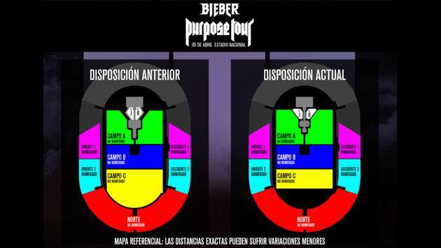 Checa el nuevo diseño de las zonas del concierto de Justin Bieber en Perú [FOTOS]