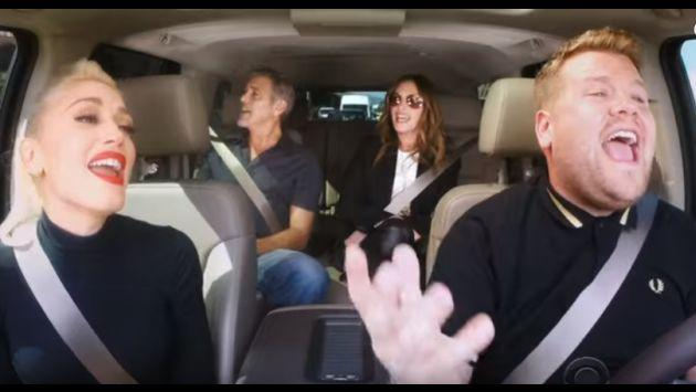 Gwen Stefani, George Clooney y Julia Roberts en el 'Carpool Karaoke' de James Corden [VIDEO]