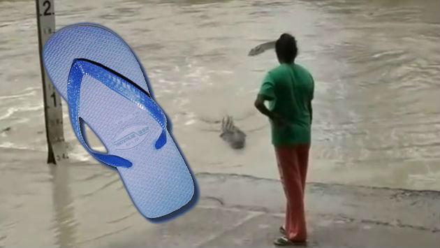 ¡El poder de la 'chancla'! Mujer enfrentó a un cocodrilo con su sandalia [VIDEO]