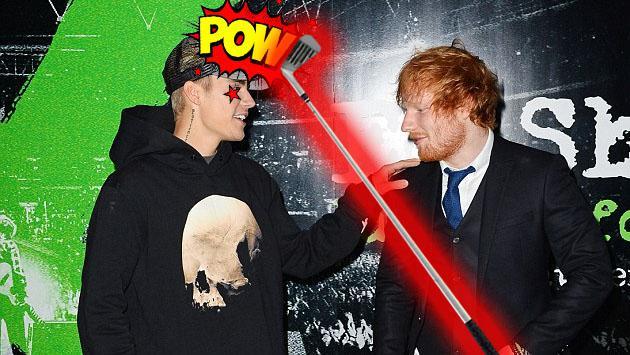 Ed Sheeran golpeó a Justin Bieber con un palo de golf. Entérate cómo que pasó