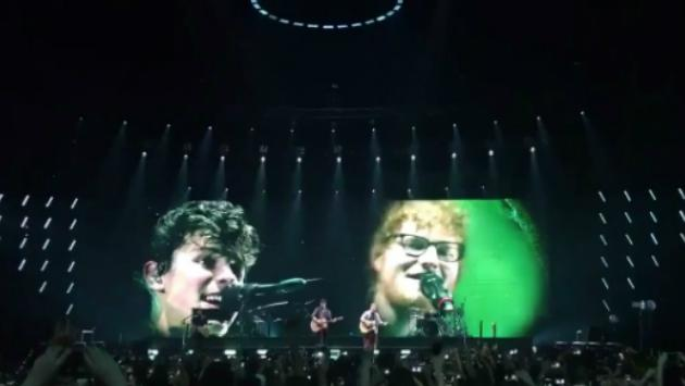 ¡Inédito! Ed Sheeran sorprende en concierto de Shawn Mendes [VIDEOS]