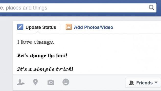 El truco de Facebook para cambiar el tipo de letra a tus publicaciones