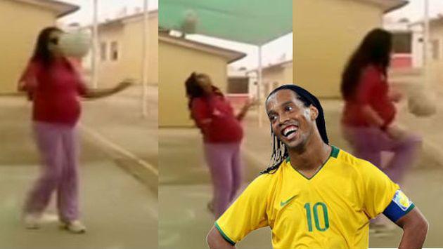 ¡Tiene 8 meses de embarazo y domina el balón como Ronaldinho! [VIDEO]