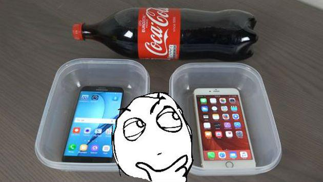 Esto es lo que pasa cuando remojas un Samsung S7 Edge y un iPhone 6s en gaseosa [VIDEO]
