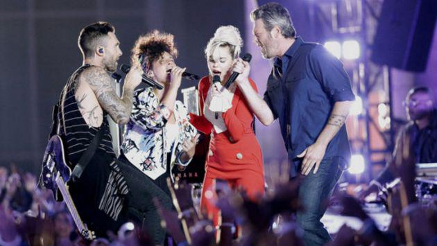 Miley Cyrus, Adam Levine, Alicia Keys y Blake Sheldon en épica presentación en 'The Voice'