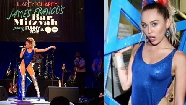 Miley Cyrus sorprende con descarado vestuario en Bar Mitzvah de James Franco