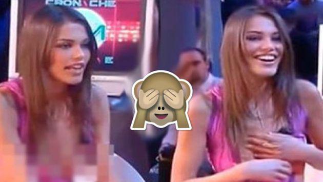 ¡Modelo italiana pasó roche en programa de televisión por escote! [VIDEO]