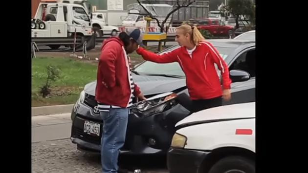 Taxista chocó el auto de Natalia Málaga y así reaccionó ella [VIDEO]