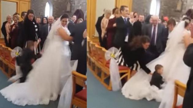 Niño aterrizó sobre vestido de novia y se convirtió  en viral