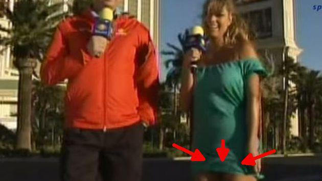 OMG! Reportera pasó el peor 'roche' durante transmisión en vivo por su vestido [VIDEO]