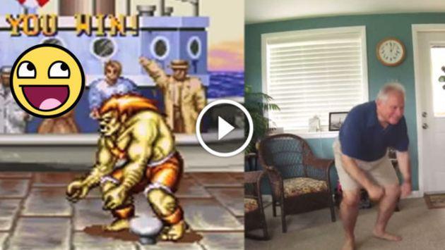 Padre de familia imita las poses de 'Street Fighter' ¡Tienes que verlo!