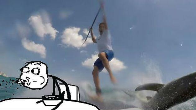 OMG! ¡Tiburón sorprendió a surfista en pleno entrenamiento! [VIDEO]