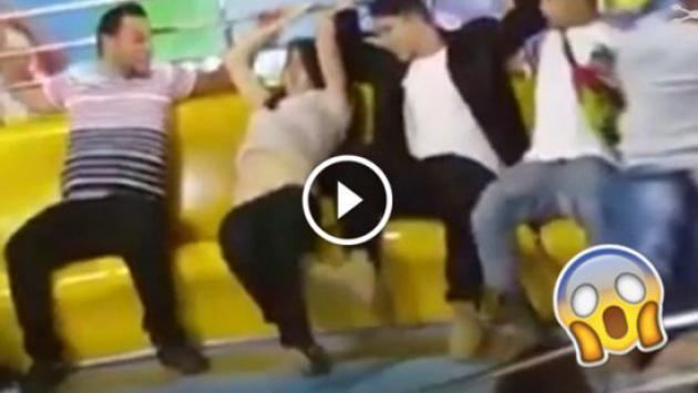 ¡El 'Tagada' deja a una chica sin pantalón! [VIDEO]