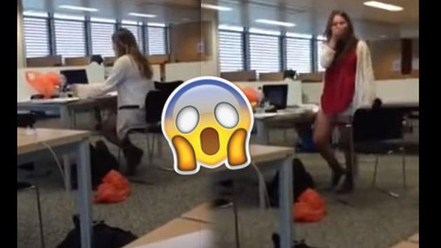 Esta chica pasó roche al ser ampayada viendo película triple X en su trabajo [VIDEO]