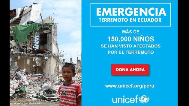 Envía tu donación para los niños afectados por terremoto en Ecuador, vía Unicef