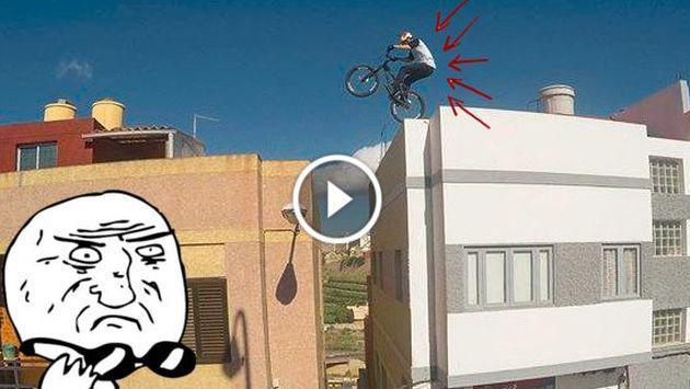 Este ciclista no teme a la muerte y pasea sobre los techos ¡Checa su increíble recorrido! [VIDEO]