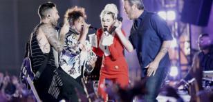 Miley Cyrus, Adam Levine, Alicia Keys y Blake Sheldon en épica presentación en 'The Voice'