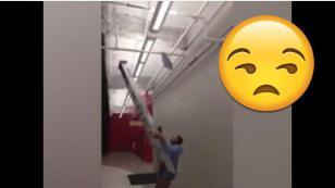 Le dieron una escalera para una tarea sencilla, pero optó por lo más absurdo [VIDEO]